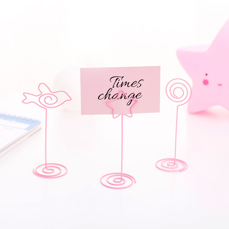 Coloffice Pink Girl Cute Metal Note Clip Message Clip Decoration Wrought Iron Clip Business Card Holder School Office Supplies