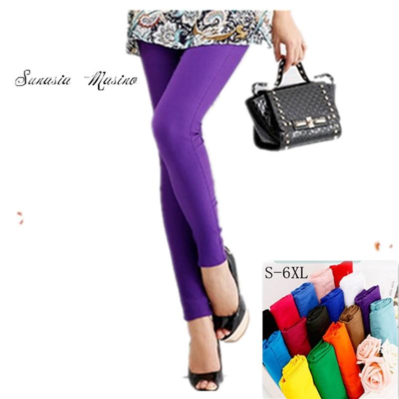 2018 אופנת נשים capris 19 מכנסיים צבע גבוהה waish S-6X, 5XL, 4XL .... מכנסיים