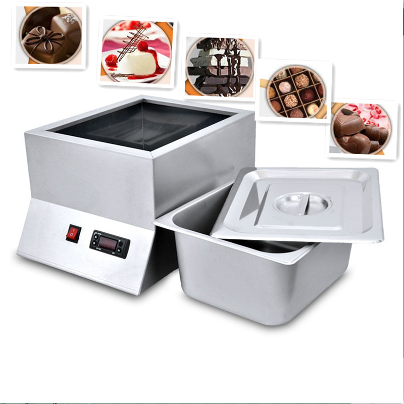 220V 1 Tray Stainless Steel Electric Chocolate Melting Furnace Single Cylinder Chocolate Melting Pot For Commercial And Home Use single cylinder commercial chocolate melting machine fy qk 620 stainless steel chocolate melting pot 220v 1pc