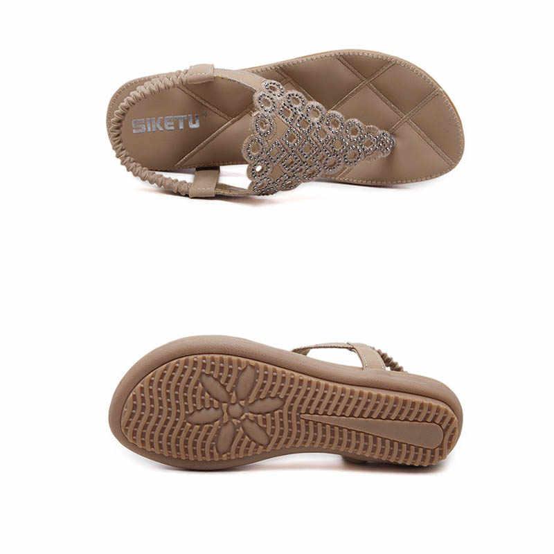 Strass tongs femmes été gladiateur plage sandales dames décontracté plate-forme chaussures femme cristal appartements doux Creepers E90