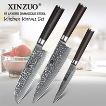XINZUO 3 pcs kitchen knife set Damascus steel gyuto chef utility tool rosewood handle free shipping