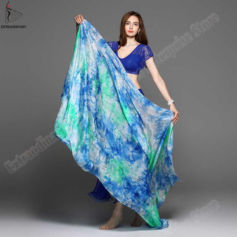 Новый 100% свадебная фата легкие шелковые танец живота обработанный вручную шарф шаль вуаль шелк 200 см 250 см 270 см для взрослых для выступлений на сцене 13 Цвет