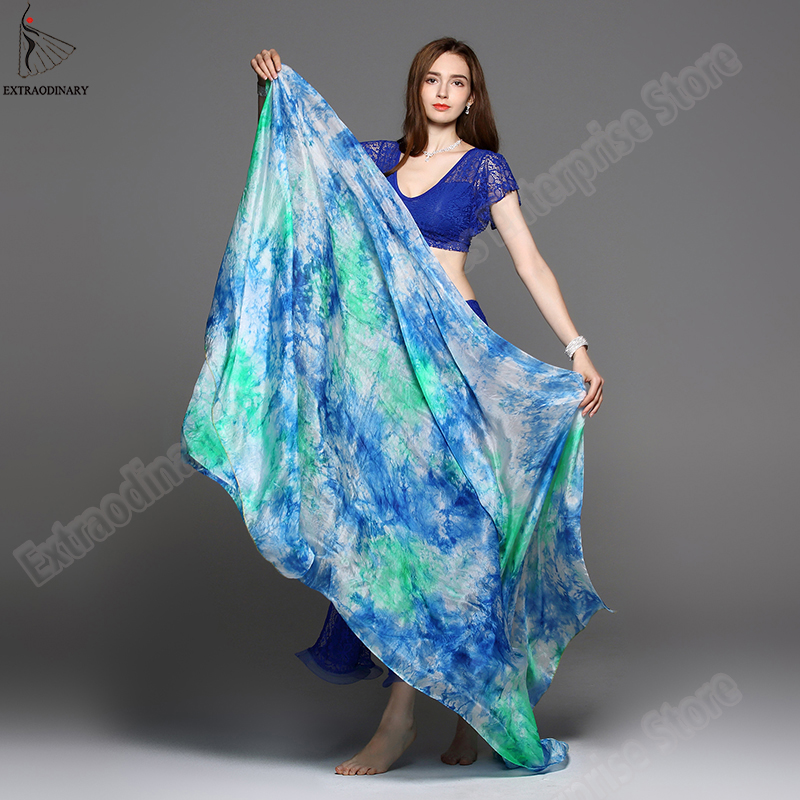 Image 2 - New 100% Veils Light Silk Belly Dance Hand Thrown Scarf Shawl Veil Silk 200cm 250cm 270cm Kids Adults Stage Performance 13 ColorBelly Dancing   -