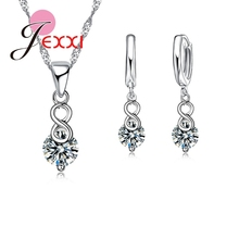 Jemmin Jewelry Sets 925 Sterling Silver Unique Number 8 Shape Austrian Crystal Pendant Necklace + Earrings For Womens Jewelry