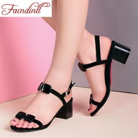 2017 New Fashion Genuine Leather Women Black White Gladiator Sandals High Heels Open Toe Women Dress