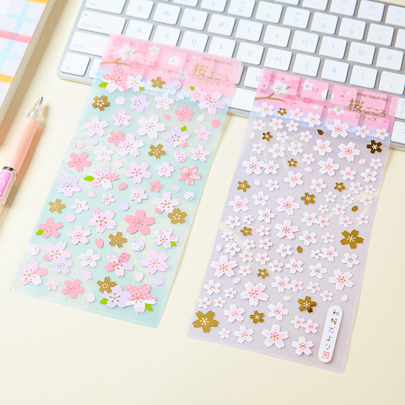 1 Sheet Fresh Pink Sakura Cherry Blossoms DIY Adhensive Mini Stickers Stationery Decorative Stick Label School Office Supply