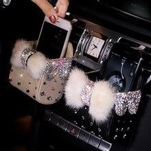 Портативная автомобильная коробка для хранения с алмазным кристаллом и бантом, сумка из меха норки, автомобильный держатель на вентиляционное отверстие, косметический чехол, универсальная сумка для мобильного телефона