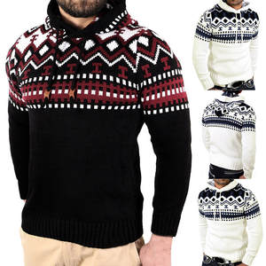 ccbfb3bb Men's Pullover Knitted Cardigan Coat Hooded Sweater 2018