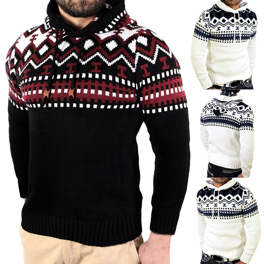 Men's Autumn Winter Pullover Knitted Cardigan Coat Hooded Sweater  Outwear New 2018