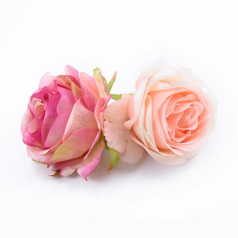 6 cm falso planta rosas de seda cabeça flor parede casamento casa decoração acessórios diy scrapbook natal grinalda flores artificiais