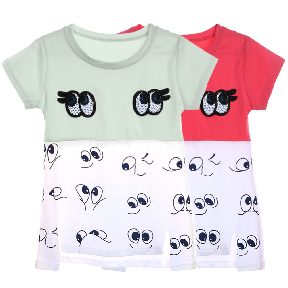 2017 Big Eyes Cartoon Girls T-Shirt 100% Cotton Short Sleeve T-shirt Girl Tops Children Tshirt Baby Clothing For 9-13Y