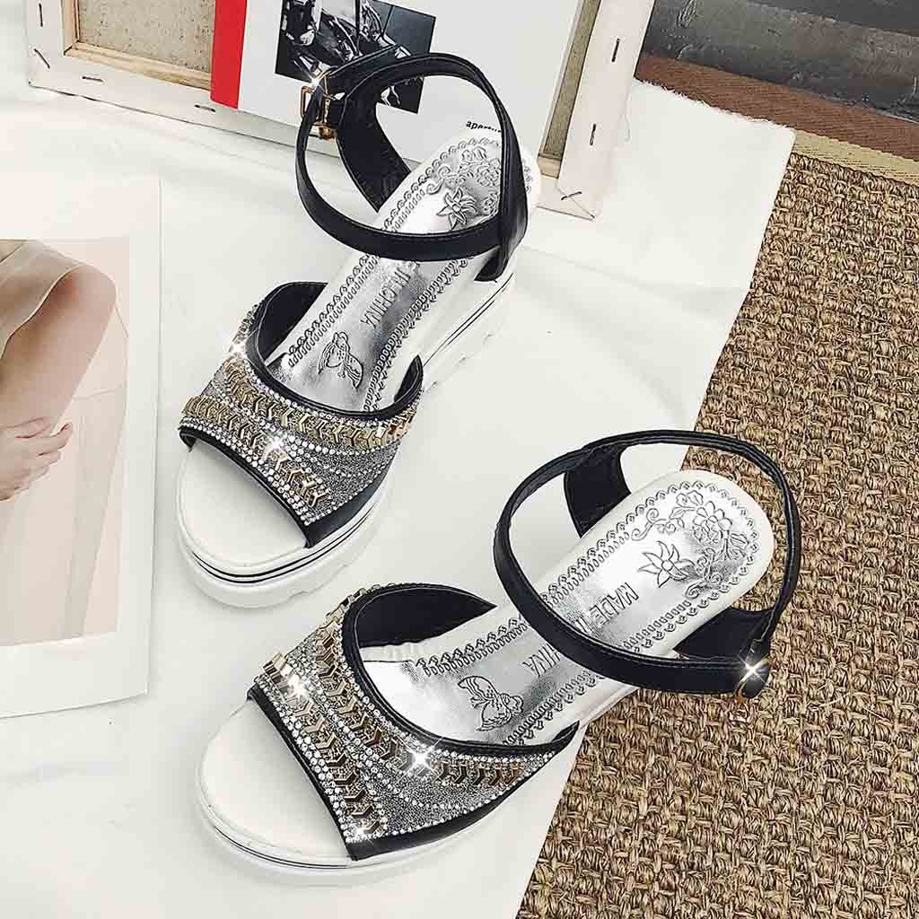 HTB1mtvaUsfpK1RjSZFOq6y6nFXas - SAGACE Women Thick Bottom Sandals Wedges Sandals Shoes For Women Fashion Women Summer Wedge Heel Open Toe Buckle Strap Sandals