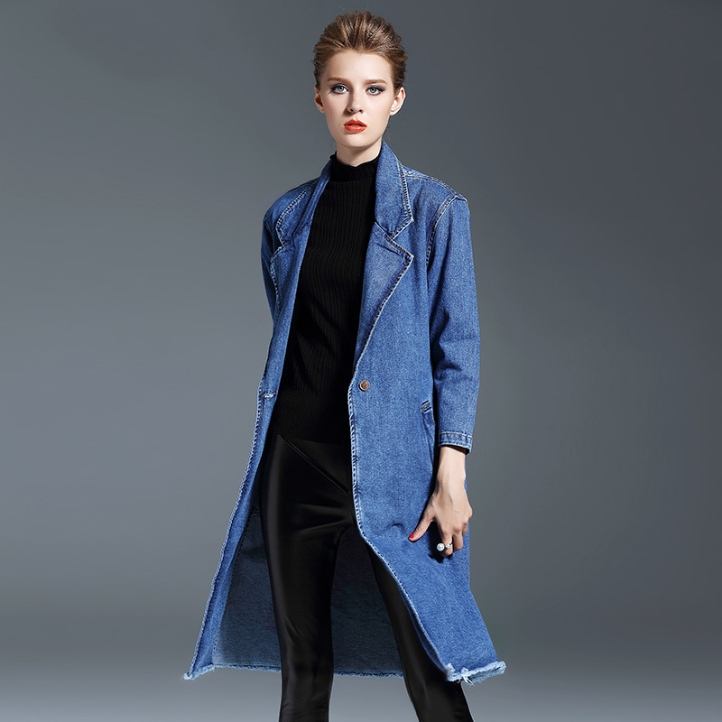 2018 Autumn new stylish trench large lapel hairline denim windbreaker solid color long loose overcoat for