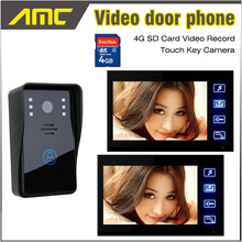 7 Inch LCD Touch Key Screen Video intercom Video Door Phone Doorbell Intercom Video Record IR Night Vision Door Camera 4GB Card