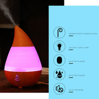 Home Waterdrop Shape USB Charge Ultrasonic Air Purifier Aroma Diffuser Mist Humidifier Bluetooth Speaker Multi Color
