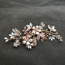 SLBRIDAL Handmade Golden Austrian Crystal Rhinestone Peearls Women Jewelry Wedding Hair Clip Barrettes Bridal accessories