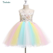 Girls Embroidery Flowers Princess Rainbow Tulle Tutu Dress Kids Birthday Party Children Halloween Costume 1-10 Years