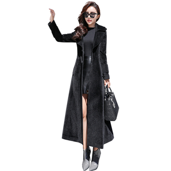 Long wool trench coat for women 2020 new winter Korean thick coat ladies plus size was thin over the knee woolen coats female