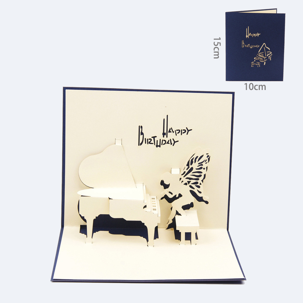 1 Pc Greeting Cards Piano Music Paper Carving Card Free Shipping