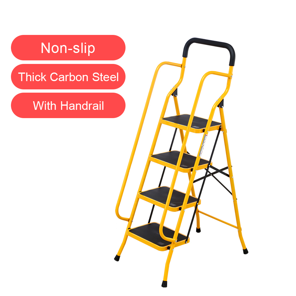 4 Step Folding Safety Ladder With Side Handrails And Anti-slip Wide Platform, Sturdy Carbon Steel Structure, 331lbs Capacity