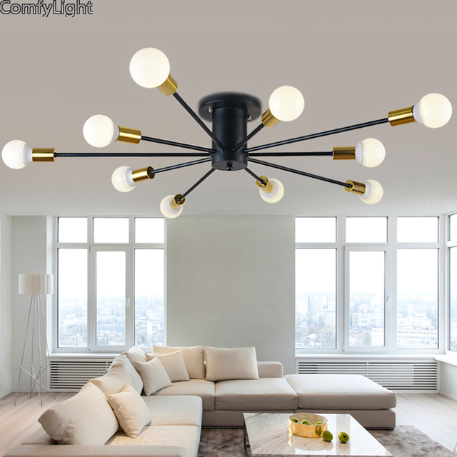 Mordern Nordic Led Bulb Light Simple Pendant Lights Vintage Loft Creating E27 Art Spider Ceiling