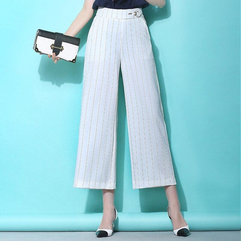 New Points Leg High Summer Stripe 3 2 Wide Black 2018 Casual Trousers 1 Pants Nine Waist Women's C0q0wX1S