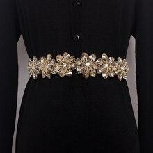 2019 Women yellow Crystal Elastic Belt For Women Rhinestone Studded Flower Narrow Belts bride cool Femme Slim Waist Shaped