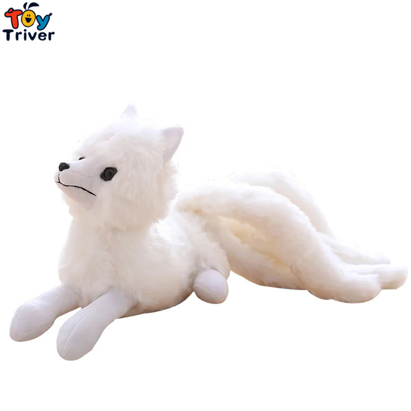 Plush White Nine Tails Fox Toy Stuffed Nine-Tailed Fox Kyuubi Kitsune Doll Creative Gift Home Shop Decoration Triver image