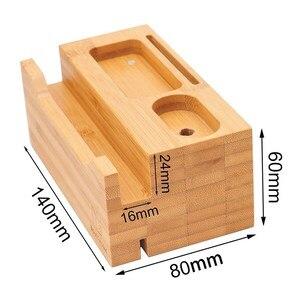 Image 4 - SZYSGSD 2 in 1 Holz Ladestation Für iPhone 6 6 S 8 Handy Stehen Schreibtisch Für Apple Uhr lade Bluetooth Earpods Halter
