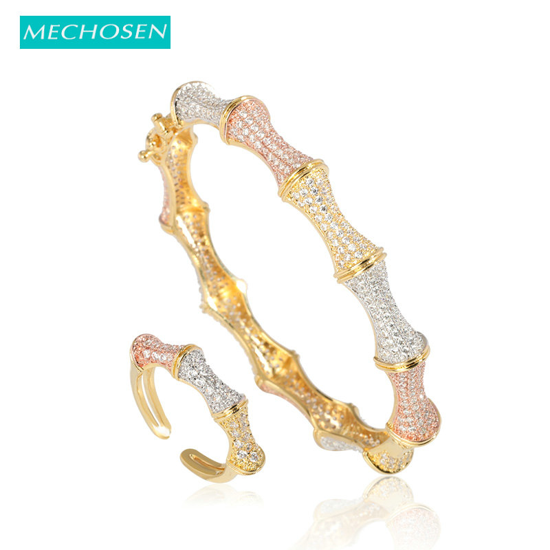 MECHOSEN Hot Dubai Bangle Ring Jewelry Set Tricolor Copper Gold Color Zircon For Wedding Banquet Bride Nigeria Accessories Gifts