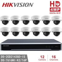 Hikvision DS-2CD2143G0-IS ONVIF 4MP IP H.265 POE P2P ИК 30 M + Hikvision NVR DS-7616NI-K2/16 P 8MP Разрешение Запись NVR CCTV