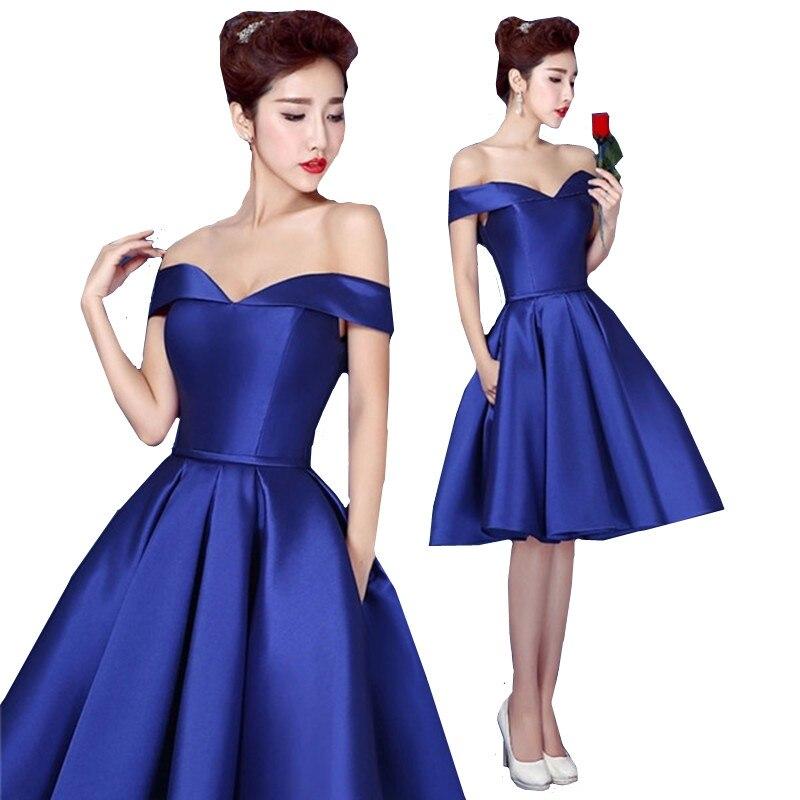 MDBRIDAL Satin Cocktail Dress Royal Blue Off Shoulder Women Short Party  Dress Lace-up 5531a59a5