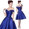 MDBRIDAL Vestido de Cóctel de Satén Azul Real Del Hombro Partido de Las Mujeres Corto Vestido de Encaje-up