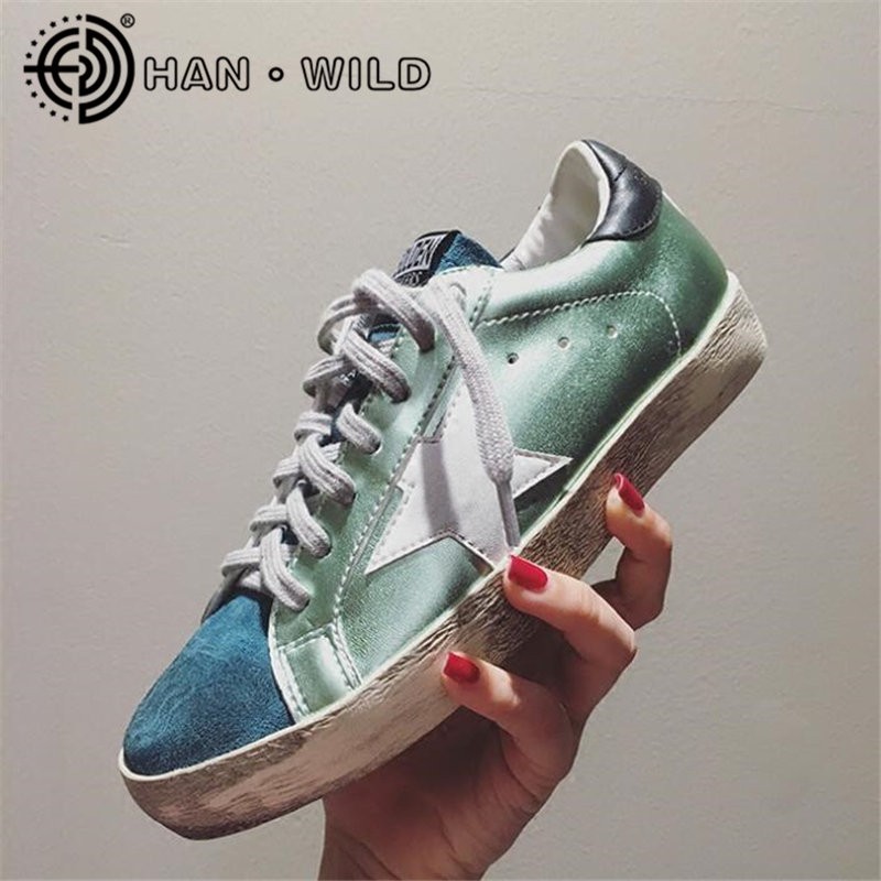 Women Casual Shoes LowTop Do Old Dirty Shoes Mixed Color Women Golden Star Goose Shoes Ladies Fashion Distressed Leather Flats woman burst leather casual shoes golden star women do old dirty shoes female lace up distressed leather vintage flat shoes
