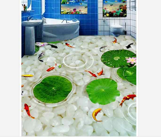 Custom photo wallpapers 3d flooring mural beauty The river pebbles carp bathroom 3 d floor Wall Stickers home decoration