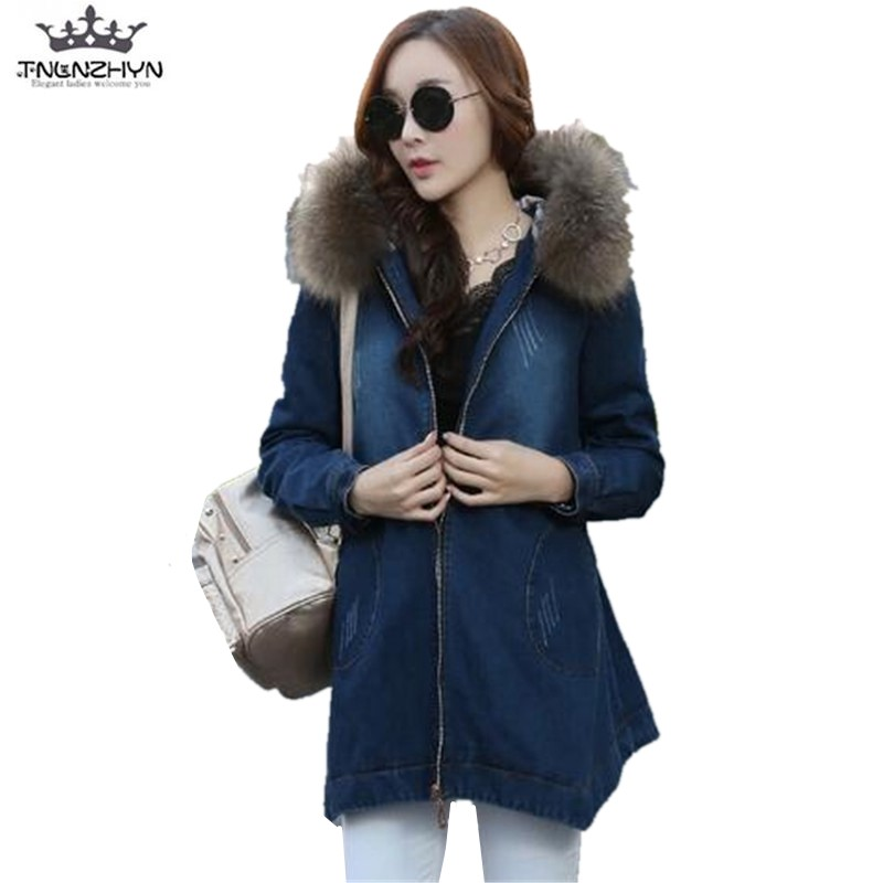 2017 New Winter Women lambs Wool Jean Coat Super Warm Fur Collar Hooded Jeans Coat Thick Warm Denim Jacket Outerwear Y424 winter autumn fur collar cowboy parka faux lamb wool warm denim jacket coat mid long thick womens jeans parkas