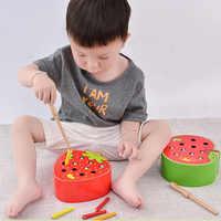 3D Puzzle drewniane zabawki dla dzieci zabawki edukacyjne dla małych dzieci złap robak gry kolor poznawcze truskawka zdolność chwytania śmieszne