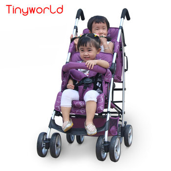 Portable Twins Stroller, Fold Twins Carriage with double sunroof, Lightweight Baby Pram Twins Buggy, Twins Tandem Stroller фото
