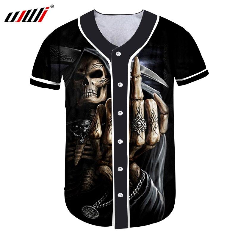 UJWI hommes boutons maillot de bain Homme impression 3D crâne doigt T-shirts Homme t-Shirts streetwear chemises Hip Hop maillot de Baseball sur mesure