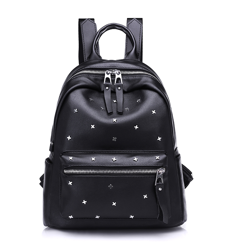 Contracted Joker Fashion Backpack Brand High Quality Vintage Bag European and American style Leisure Backpack Black