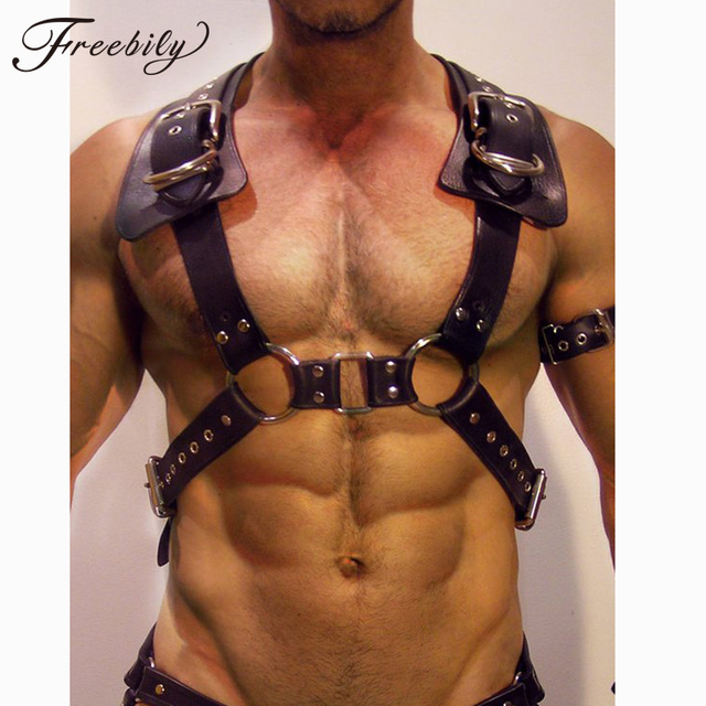 Men Bondage Harness Men Gay Leather Harness Men Buckle Body Chest Half Harness  Bondage Gothic Gay