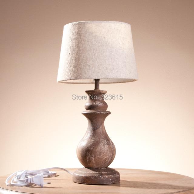 rural retro desk lamp solid wood linen shade table lamp sitting room bedroom study wood desk. Black Bedroom Furniture Sets. Home Design Ideas