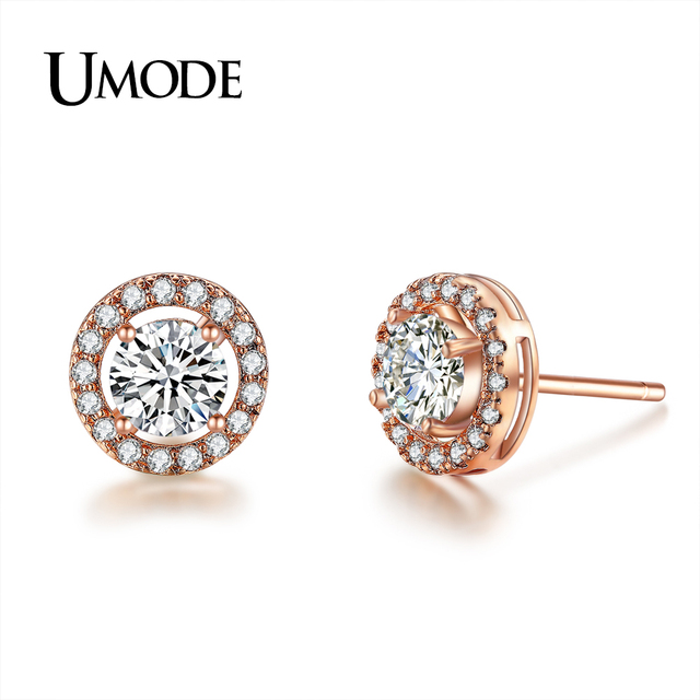 UMODE New Trendy Cute CZ Crystal Stud Earrings for Women Fashion Engagement Party Jewelry Boucle D'oreille Femme Bijoux UE0012A