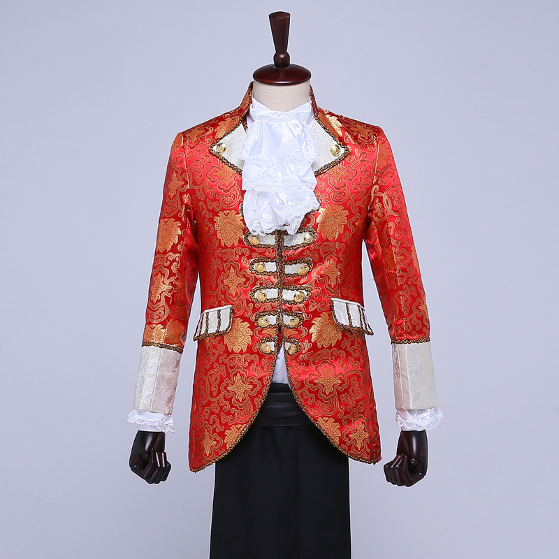 veste Partie Cour Européen Étoile Fixe Rouge Red Danseur Spectacle Robes Cravate Performance Costume Gilet Pour Pantalon Chanteur rIXwqS61r