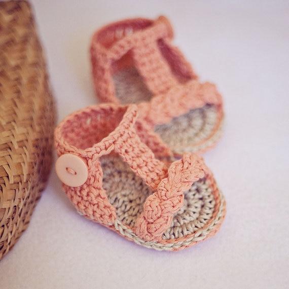 ed6718e7 Verano niña Sandalias, Zapatos de bebé ganchillo hecho a mano Sandalias  trenzado gladiador Sandalias 9 cm, 11 cm en Zapatos del pesebre de Mamá y bebé  en ...