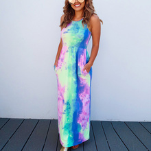 Fashion Women Summer Halter Pocket Casual Tie-dyed Gradient Printed Dress