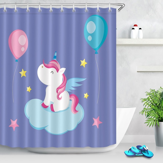LB Funny Red Balloon White Unicorn Blue Clouds Purple Shower Curtains Polyester Bathroom Curtain Fabric For Bathtub Home Decor
