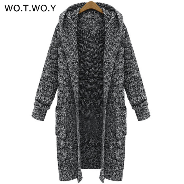 Aliexpress.com : Buy WOTWOY Autumn Winter Long Hooded Cardigans ...