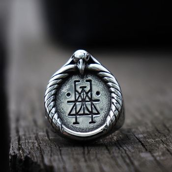 Bague viking corbeau rune