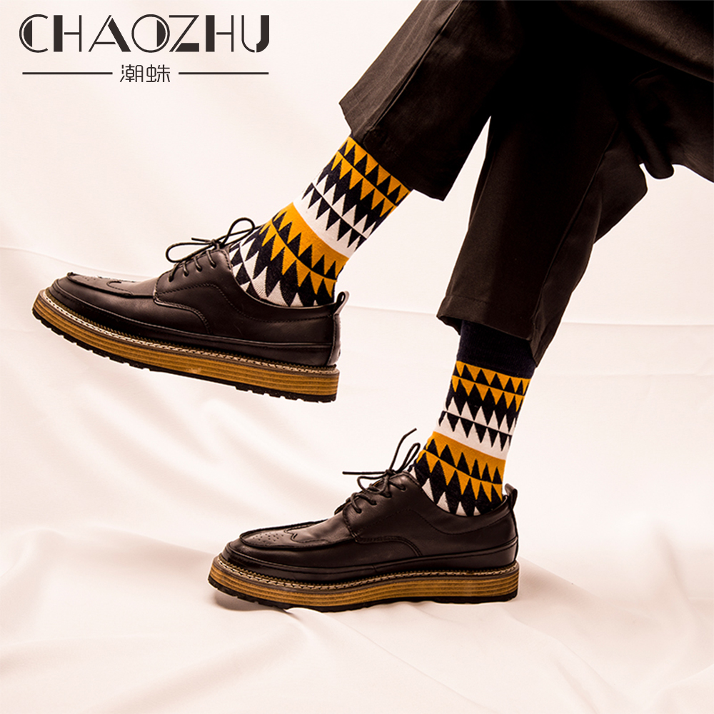 CHAOZHU Fashion Men's   Socks   Autumn Winter Casual Cotton Crew   Socks   Men Happy   Socks   Dots/Stripes Daily Deodorant   Socks  /Calcetines